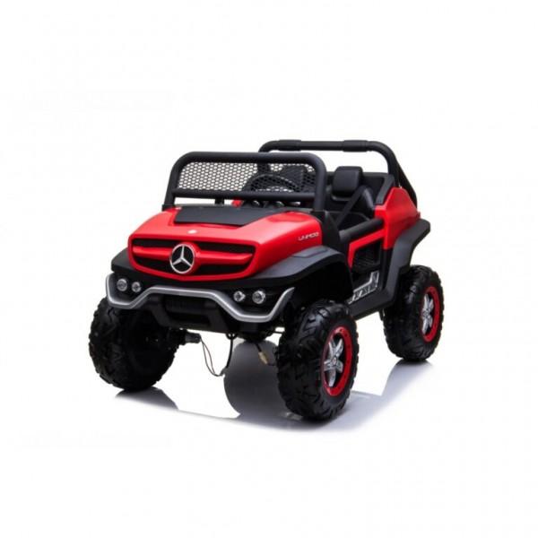Ηλεκτροκίνητο Παιδικό Αυτοκίνητο Lecensed Mercedes Benz Unimog 12V Με δερμάτινα καθίσματα Ελαστικά EVA και οθόνη MP4 σε Κόκκινο Χρώμα 564231